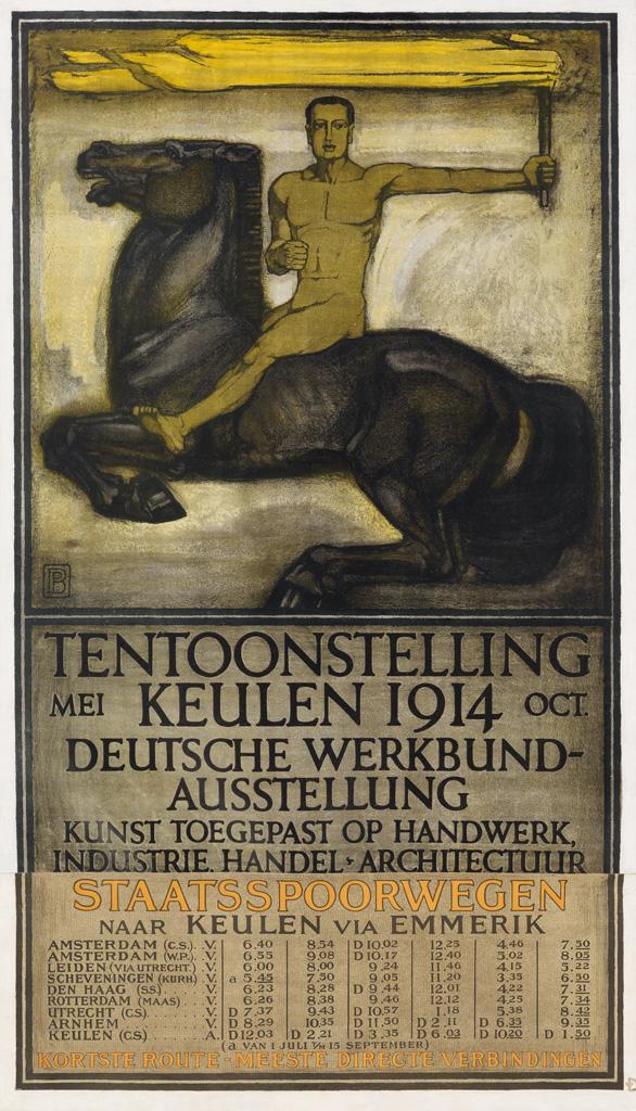 PETER BEHRENS (1868-1940). TENTOONSTELLING KEULEN / DEUTSCHE WERKBUND AUSSTELLUNG. 1914. 42x24 inches, 107x63 cm. [A. Molling & Comp.,