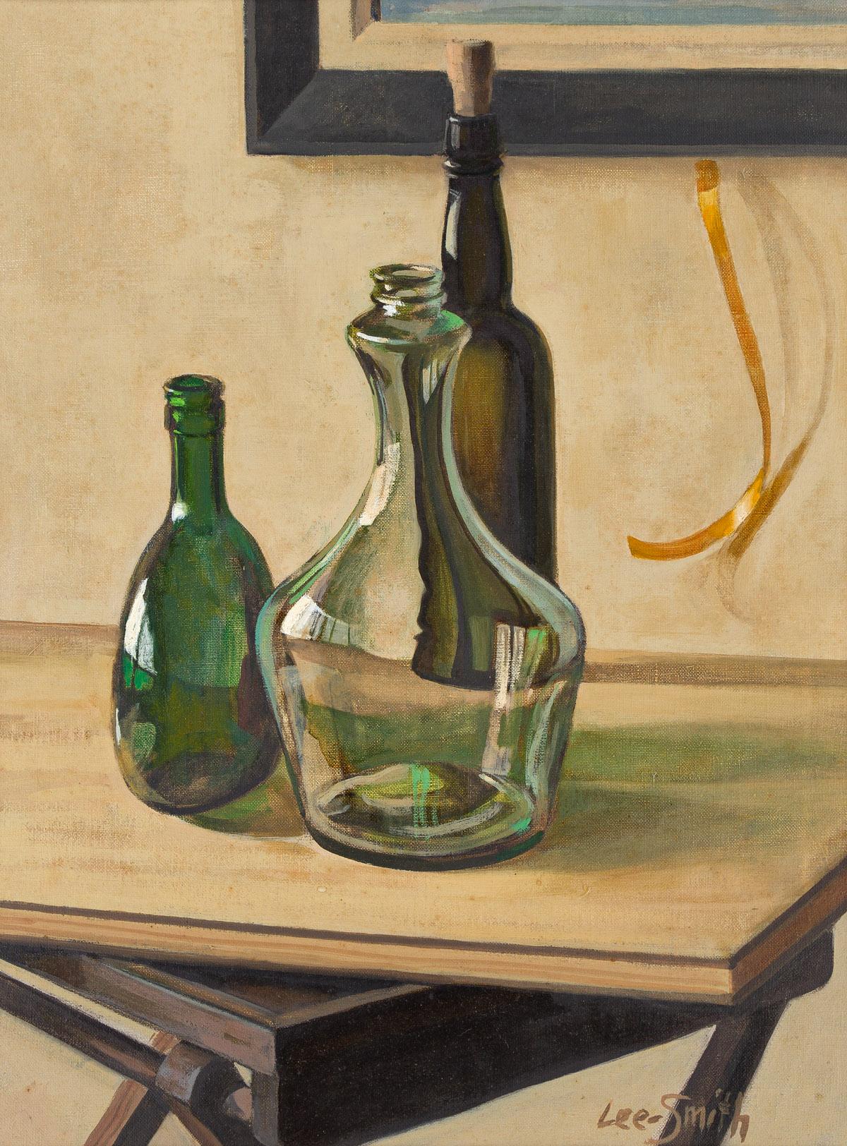 HUGHIE LEE-SMITH (1915 - 1999) Untitled (Still Life with Three Wine Bottles).