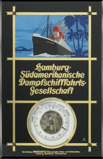 "(HAMBURG-SOUTH AMERICAN LINE.) ""Cap Arcona."" Verre eglomise barometer."