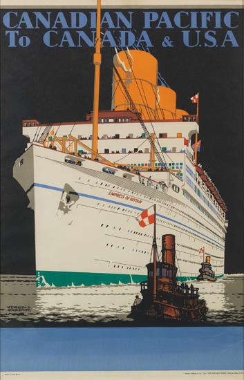 KENNETH DENTON SHOESMITH (1890-1939). CANADIAN PACIFIC / TO CANADA & U.S.A. 1933. 40x25 inches, 101x63 cm. The Baynard Press, London.