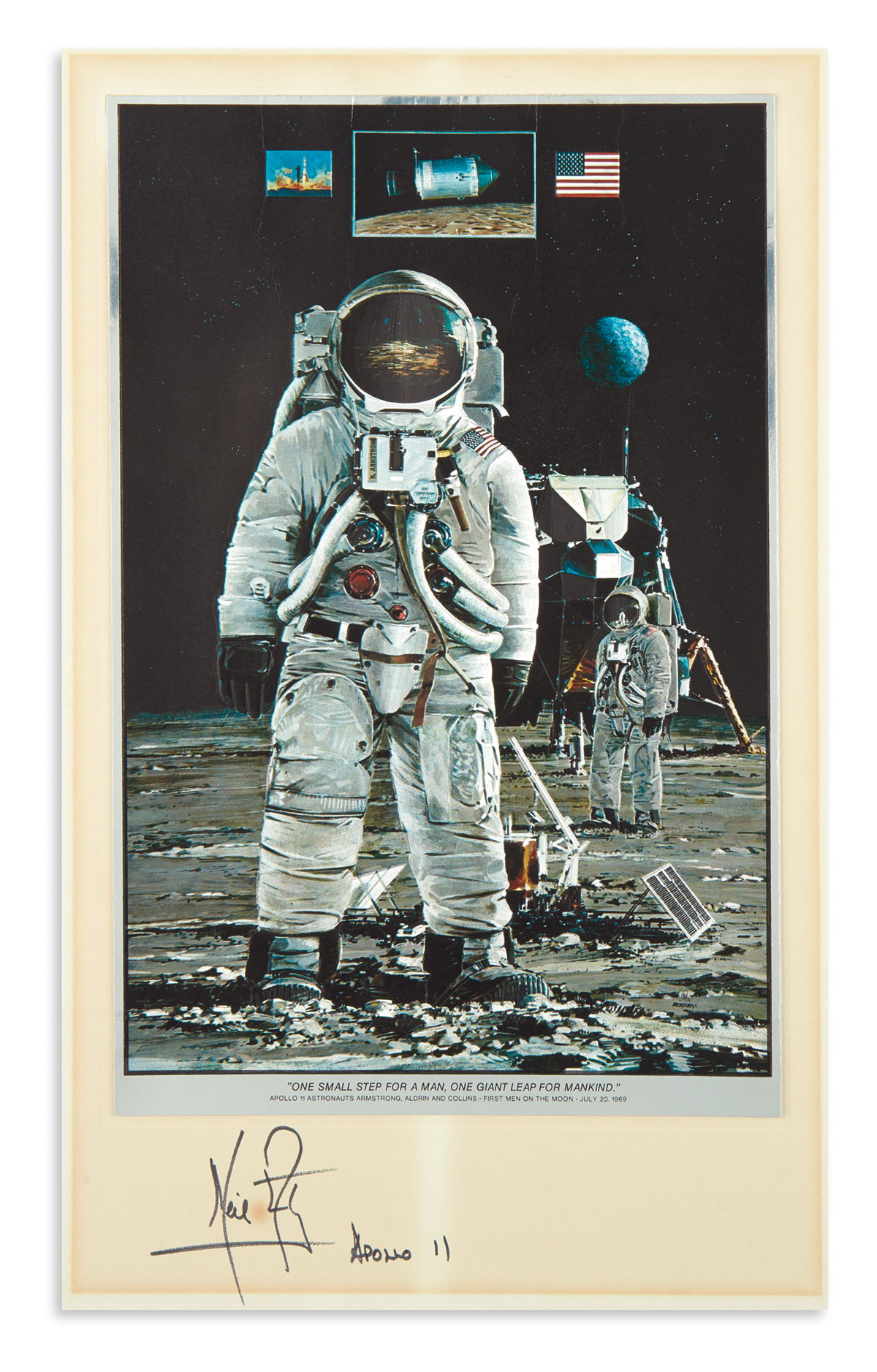 (ASTRONAUTS.) NEIL ARMSTRONG. Print Signed and Inscribed, Apollo 11, a color foil etching of a painting by John Berkey...