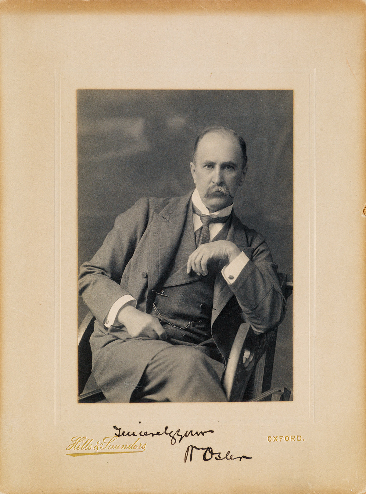 WILLIAM OSLER. Photograph Signed and Inscribed, Sincerelyyours / WmOsler, half-length seated portrait by Hills...