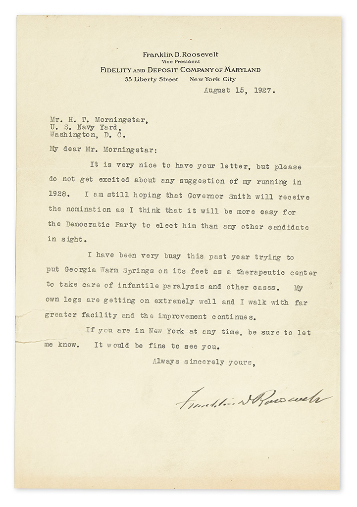 ROOSEVELT, FRANKLIN D. Typed Letter Signed, as Vice President of Fidelity and Deposit Company of Maryland, to Naval engineer H.T. Morni