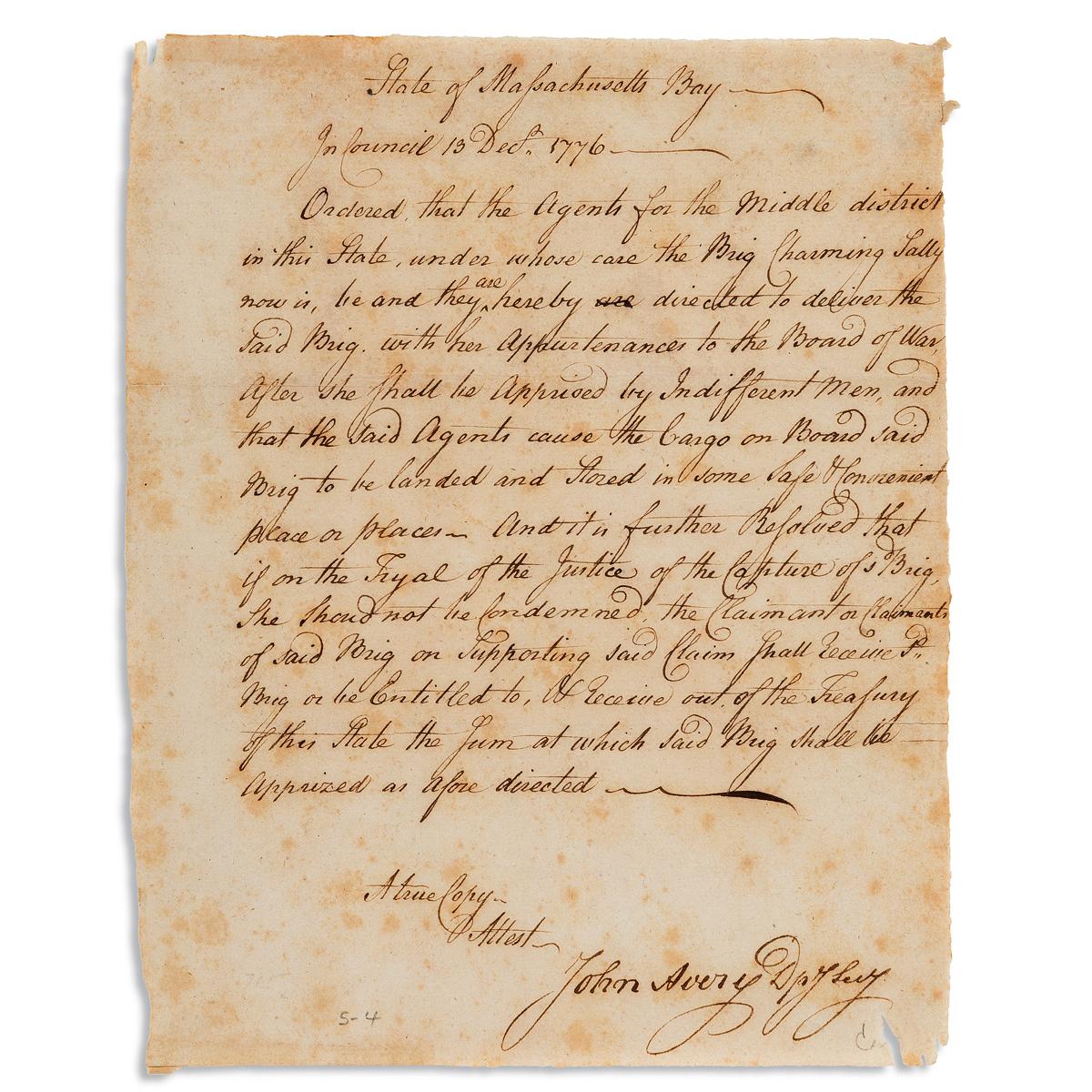 (AMERICAN-REVOLUTION--1776)-Order-from-the-Massachusetts-War
