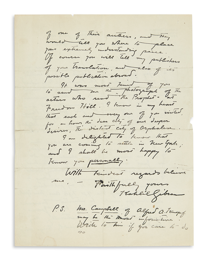 GIBRAN, KAHLIL. Autograph Letter Signed, to My dear Mr. Horowitz,