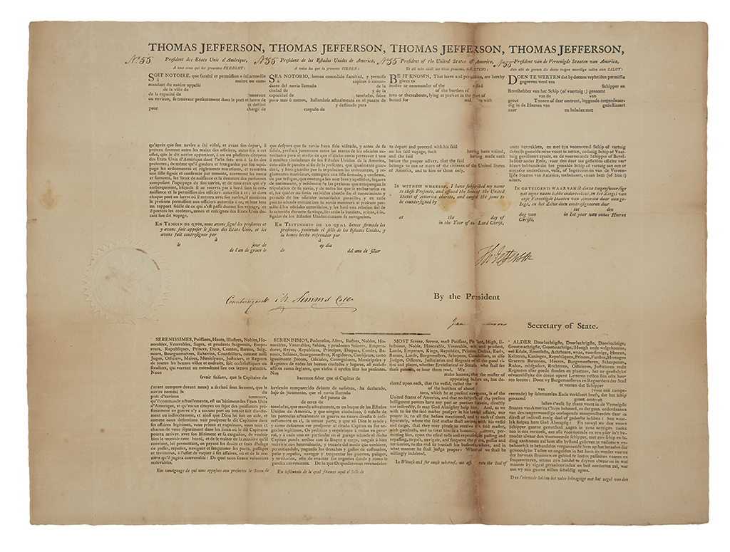 JEFFERSON, THOMAS. Partly-printed Document Signed, Th: Jefferson, as President, unaccomplished 4-language ships papers.