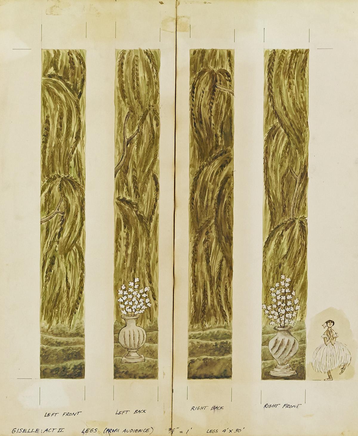 EDWARD GOREY. Trio of set designs for Giselle, Act II.   [BALLET]