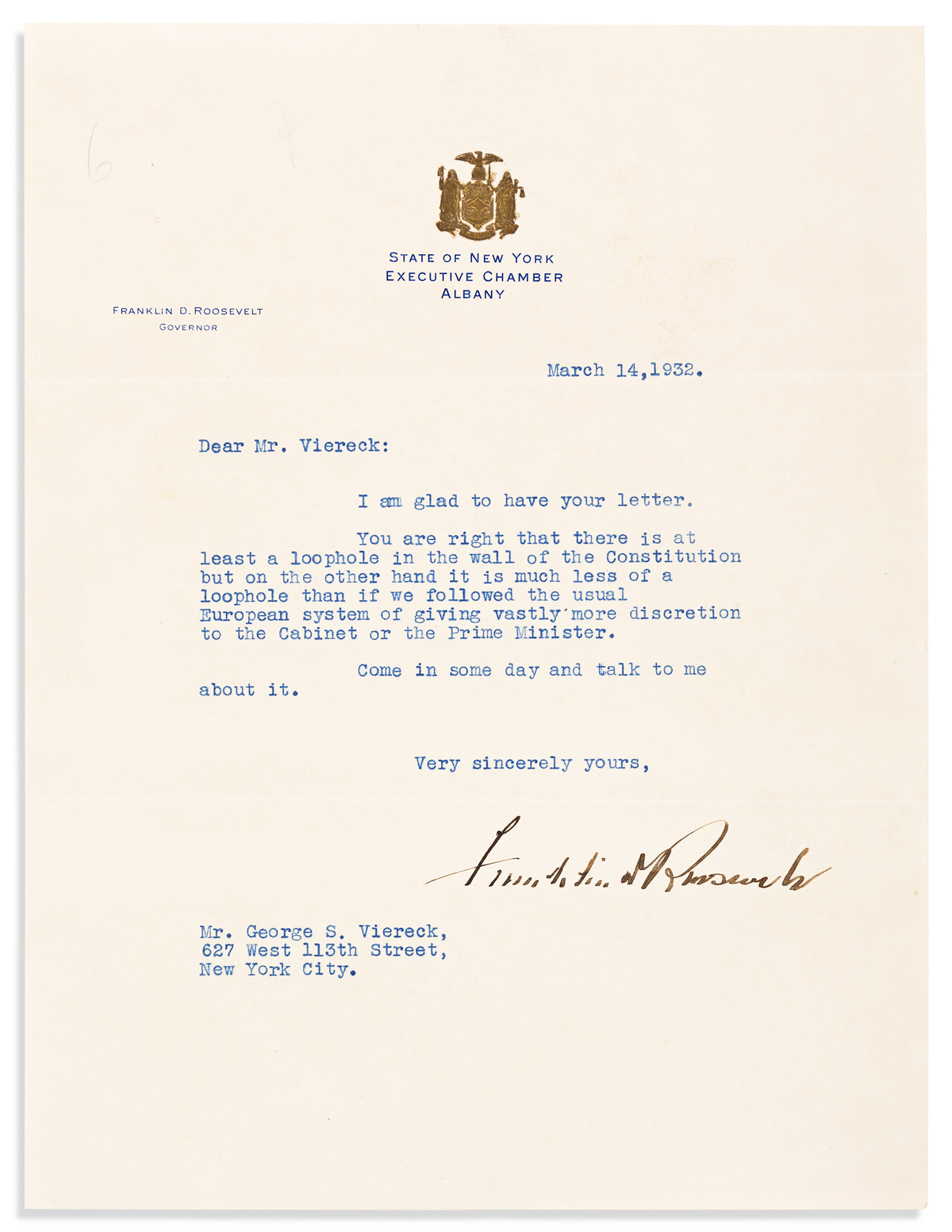 ROOSEVELT, FRANKLIN D. Typed Letter Signed, as Governor, to German-American poet and advocate of National Socialism George Sylvester Vi