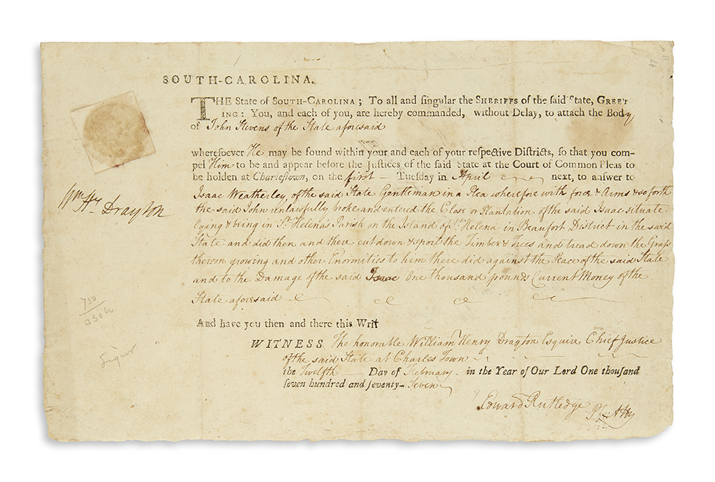(AMERICAN-REVOLUTION)-RUTLEDGE-EDWARD-Two-Signatures-Edward-