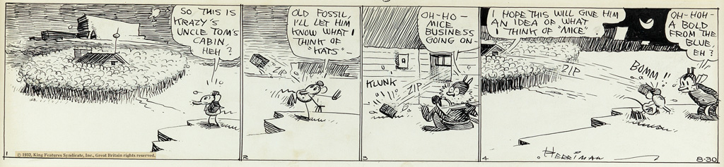 (CARTOONS) GEORGE HERRIMAN. A Boomerang / So This is Krazys Uncle Toms Cabin, Heh?