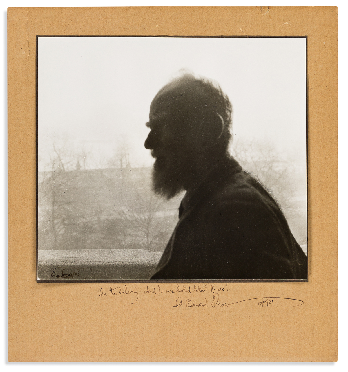 SHAW, GEORGE BERNARD. Photograph Signed and Inscribed, On the balcony. And he once looked like Romeo! / G. Bernard Shaw,