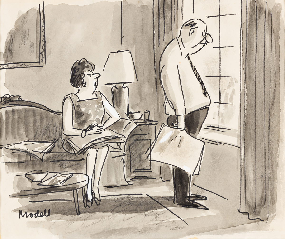 FRANK MODELL (1917-2016) Are you sure its the Op-Ed page that has you boiling, or is it something I said? [CARTOONS / NEW YORKER]