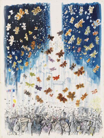 "RONALD SEARLE. New York World''s Fair, """"Tower of Light."""""