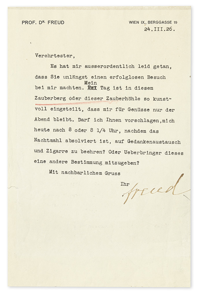 FREUD, SIGMUND. Typed Letter Signed, freud, to an unnamed recipient, Esteemed Sir, in German,