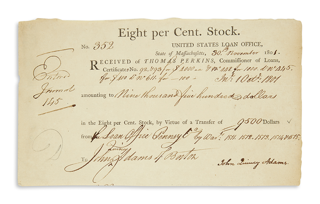 ADAMS-JOHN-QUINCY-Partly-printed-Document-Signed-receipt-for