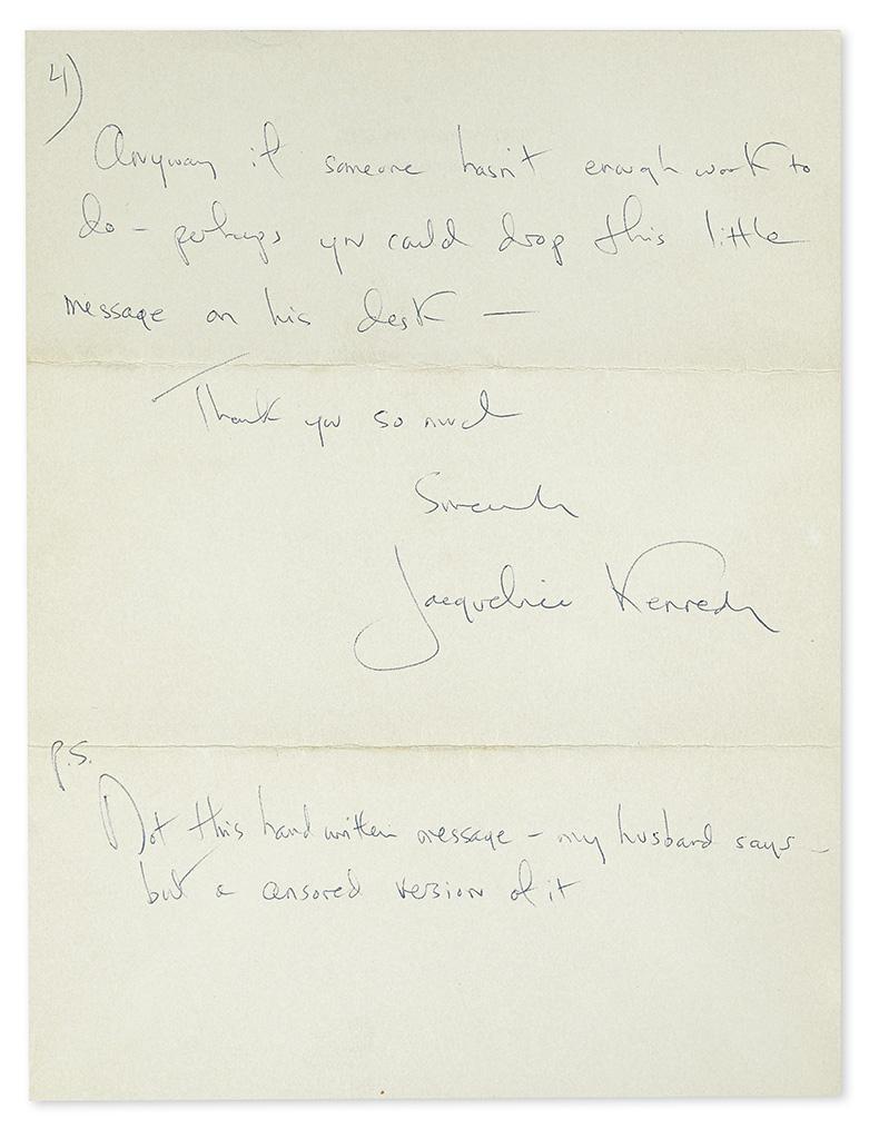 KENNEDY, JACQUELINE. Autograph Letter Signed, as First Lady, to U.S. Attorney General Nicholas Katzenbach (Dear Mr Katzenbach),