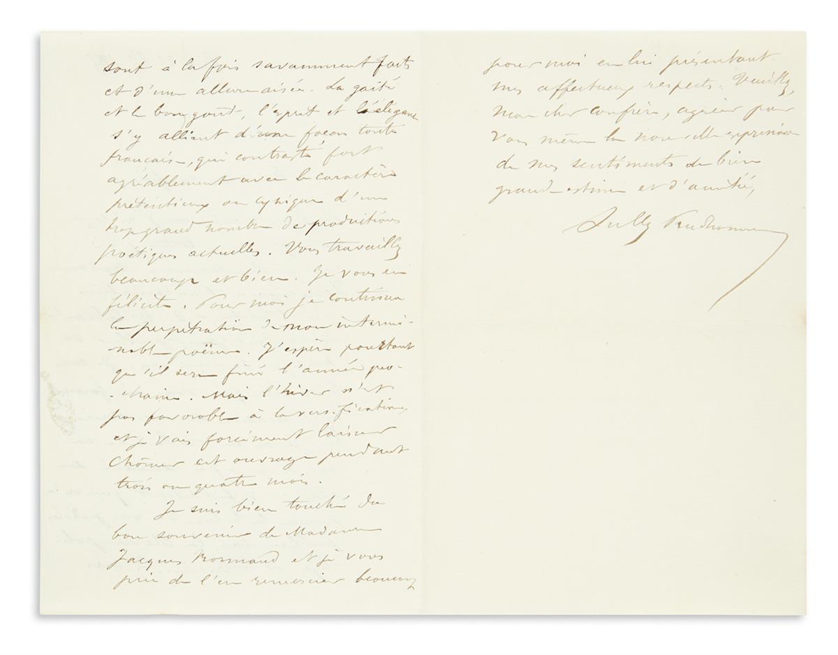 PRUDHOMME-RENÉ-FRANÇOIS-ARMAND-(SULLY)-Two-Autograph-Letters
