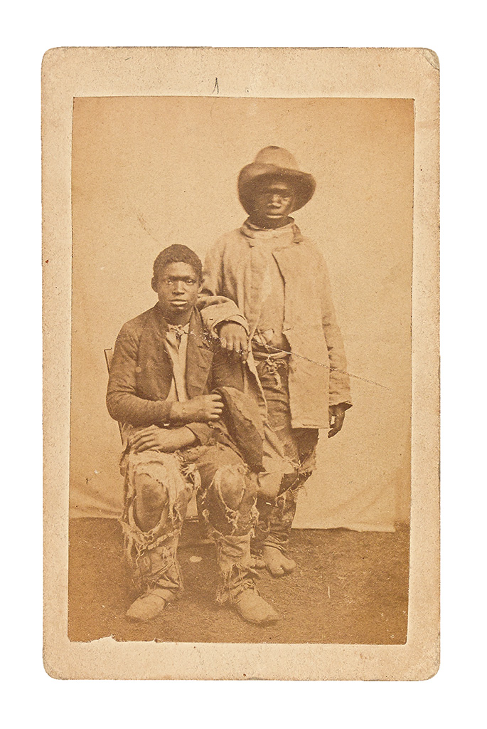 (SLAVERY AND ABOLITION--PHOTOGRAPHY.) Pair of Contrabands (supplied title).