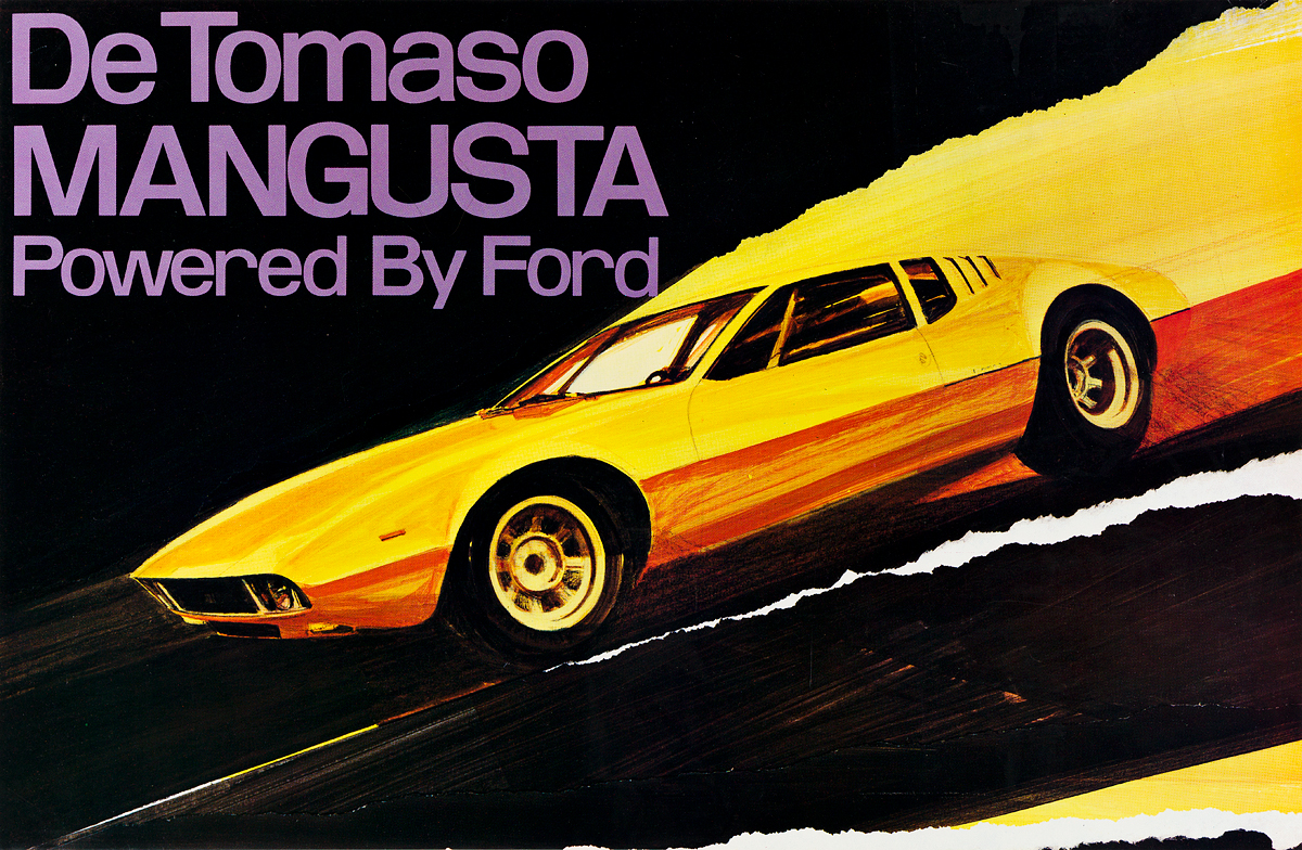 GEORGE-BARTELL-(1933-2013)-DE-TOMASO-MANGUSTA--POWERED-BY-FORD-1969-22x34-inches-55x86-cm