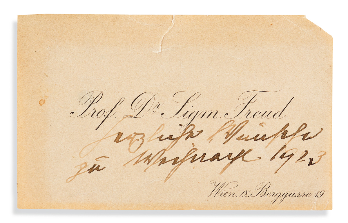(SCIENTISTS.) FREUD, SIGMUND. Printed visiting card, unsigned, inscribed in holograph with Christmas greeting: