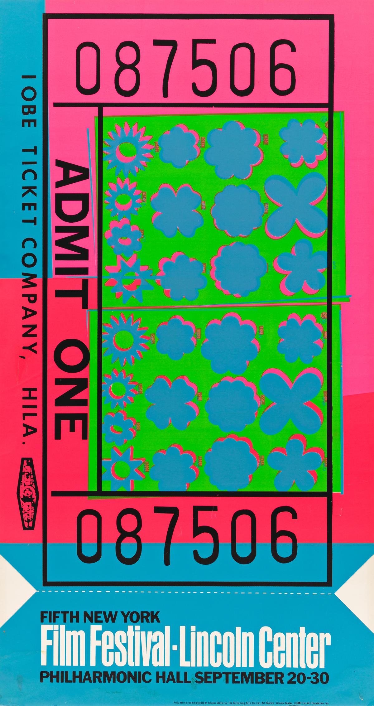 ANDY WARHOL (1928-1987).  FILM FESTIVAL - LINCOLN CENTER. 1967. 45x24 inches, 114¼x61 cm. List Art Foundation, Inc., [New York.]
