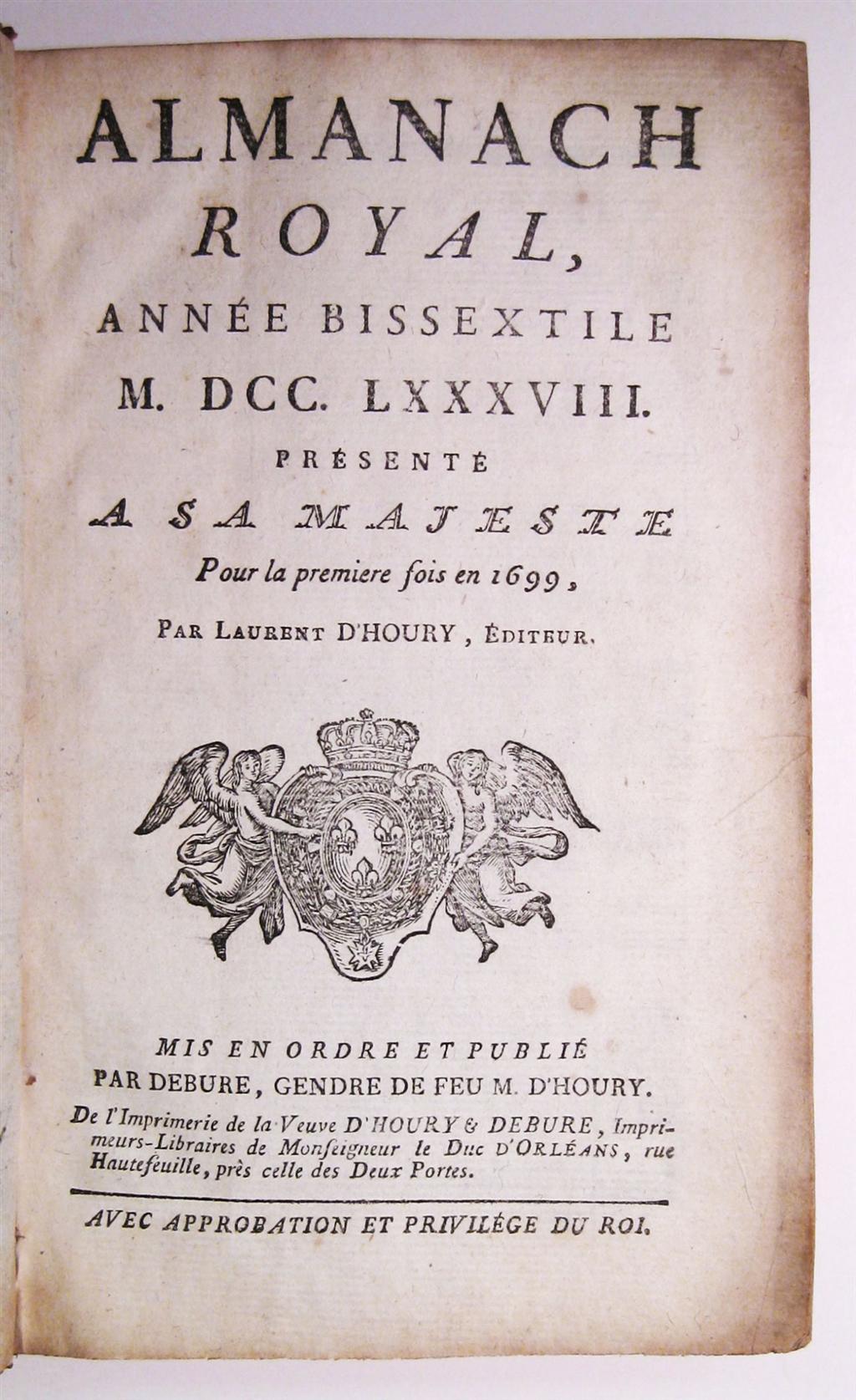 ALMANAC--Almanach-Royal-Année-Bissextile-MDCCLXXXVIII--1787