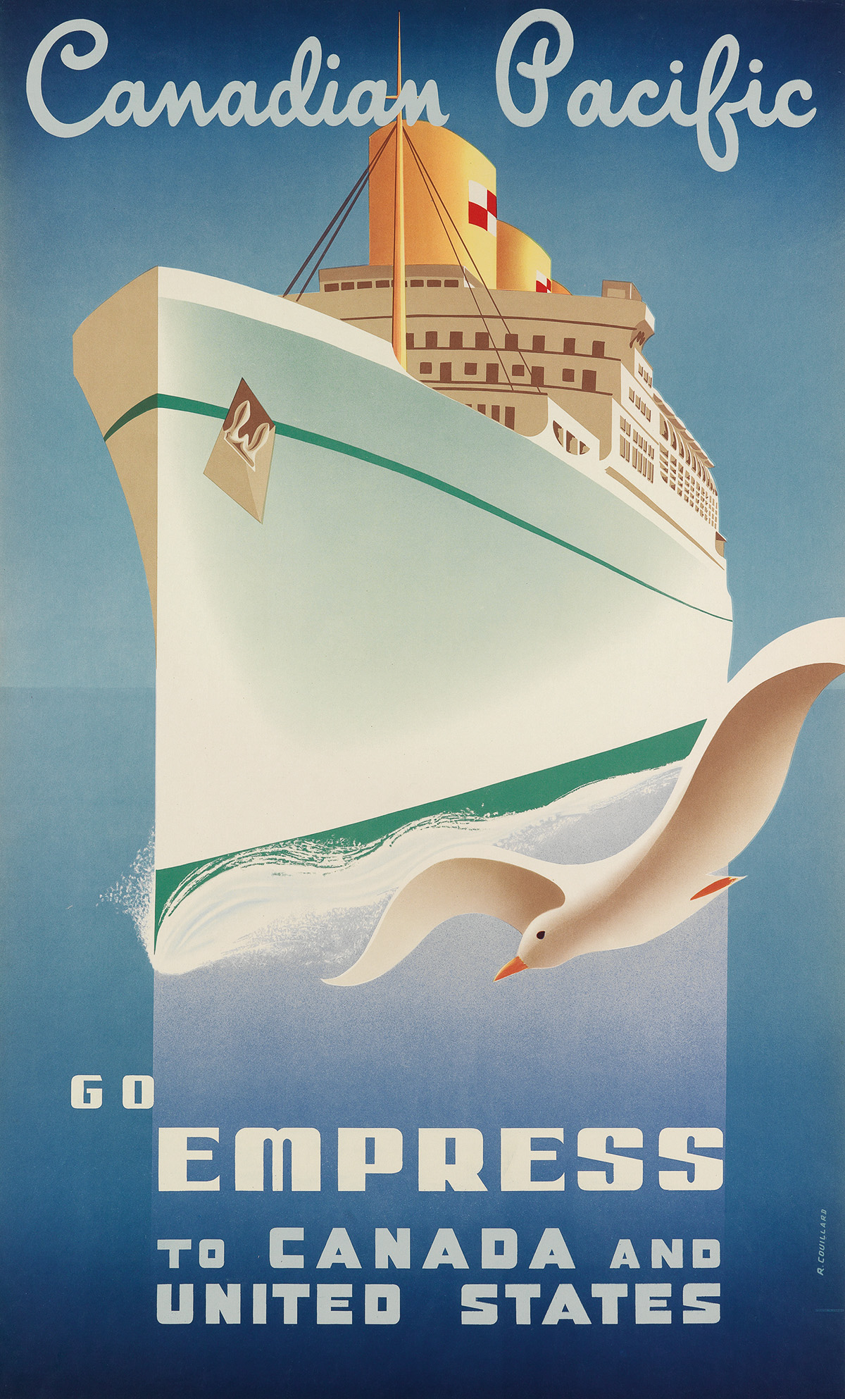 ROGER COUILLARD (1910-1999). GO EMPRESS TO CANADA AND UNITED STATES / CANADIAN PACIFIC. 1950. 39x24 inches, 100x63 cm.