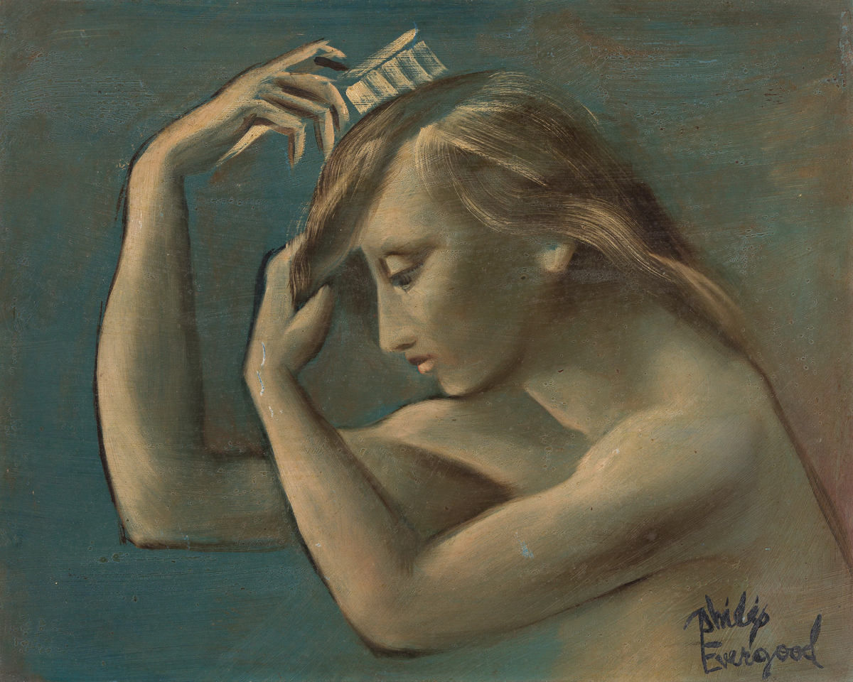 PHILIP EVERGOOD Young Woman in Profile, Brushing her Hair.
