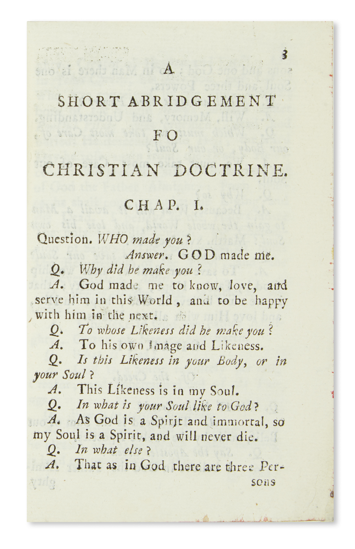(MEXICAN IMPRINT--1787.) A short abridgement fo [sic] Christian doctrine