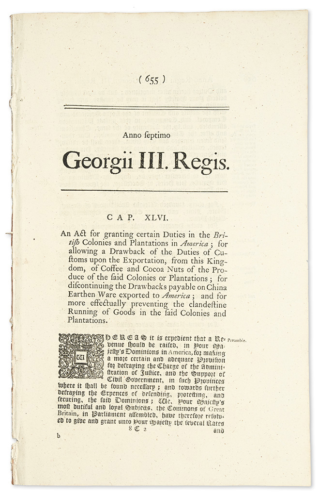 (AMERICAN REVOLUTION.) First printings of the Townshend Acts which helped trigger the Revolution.