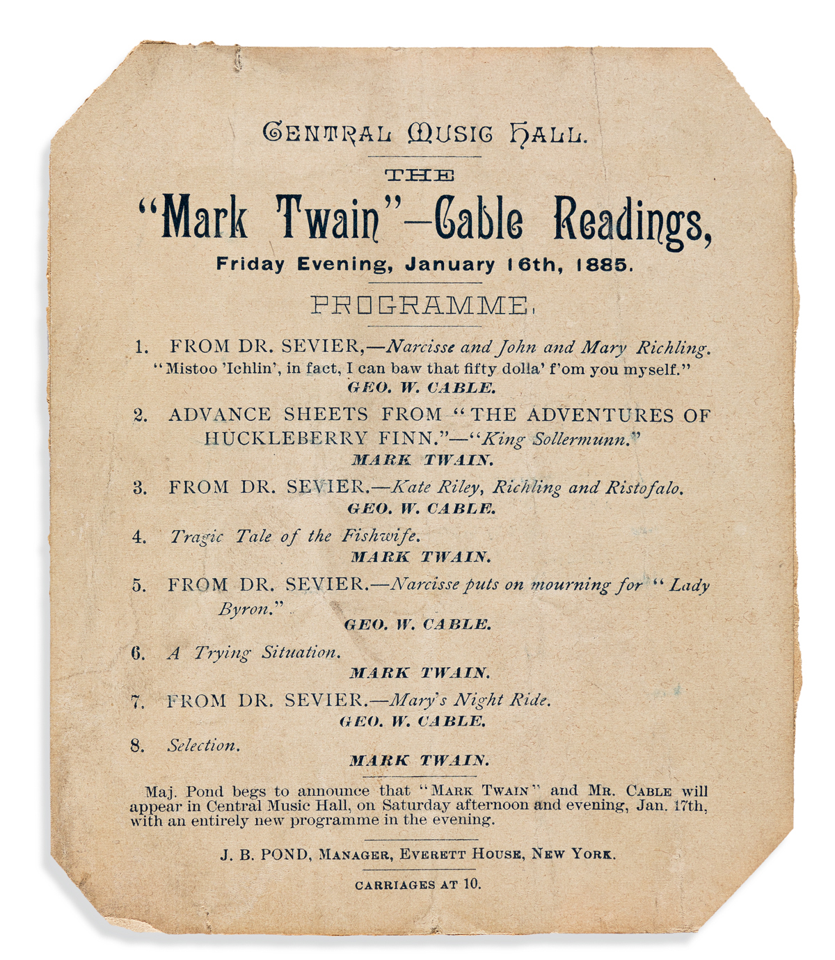 (TWAIN, MARK.) The Mark Twain - Cable Readings [...] Programme.