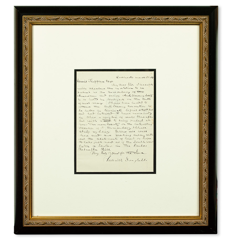 (SLAVERY AND ABOLITION.) DOUGLASS, FREDERICK. Autograph Letter Signed, addressed to Lewis Tappan.