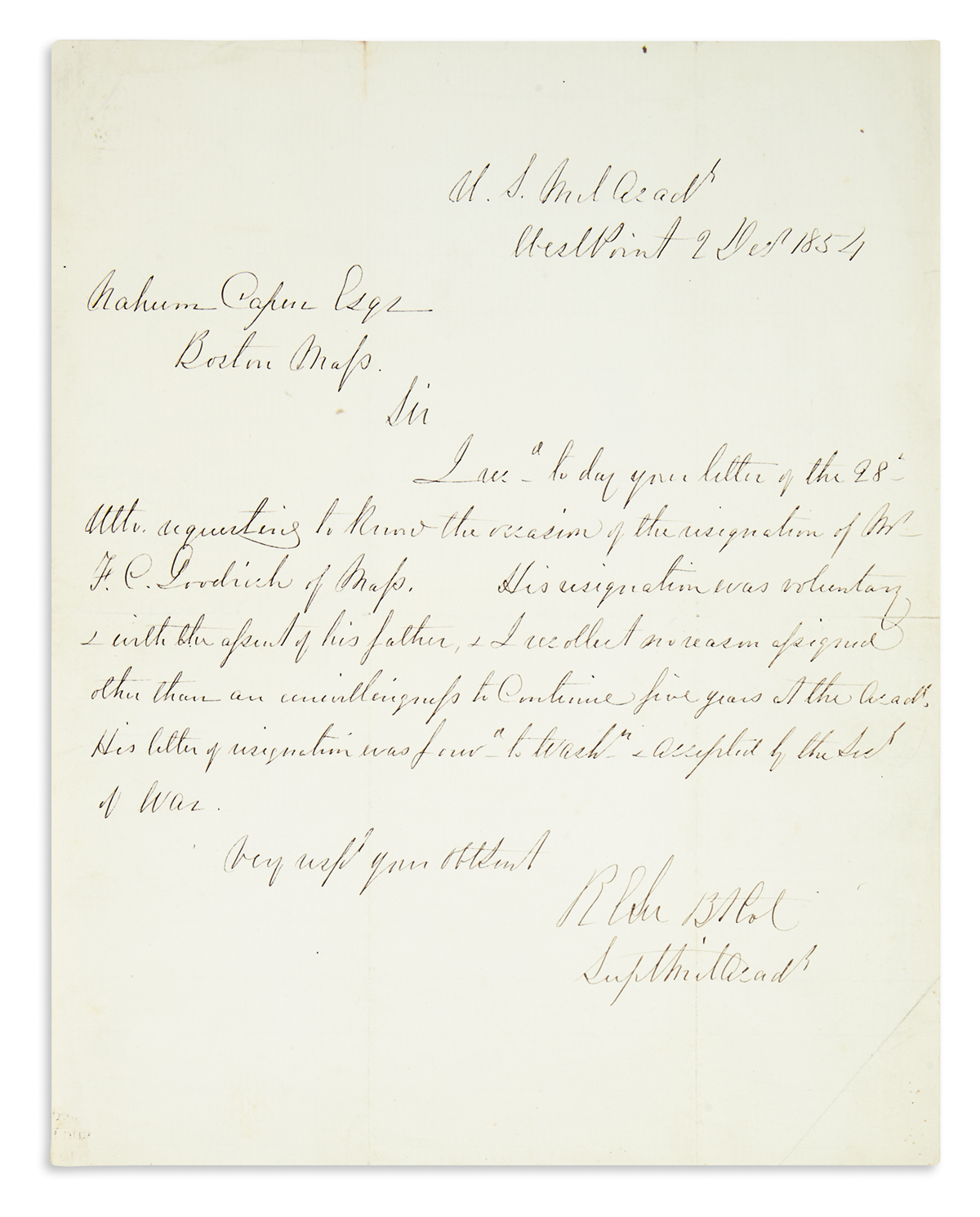 LEE-ROBERT-E-Autograph-Letter-Signed-RELee-Bt-Col--SuptMilAc