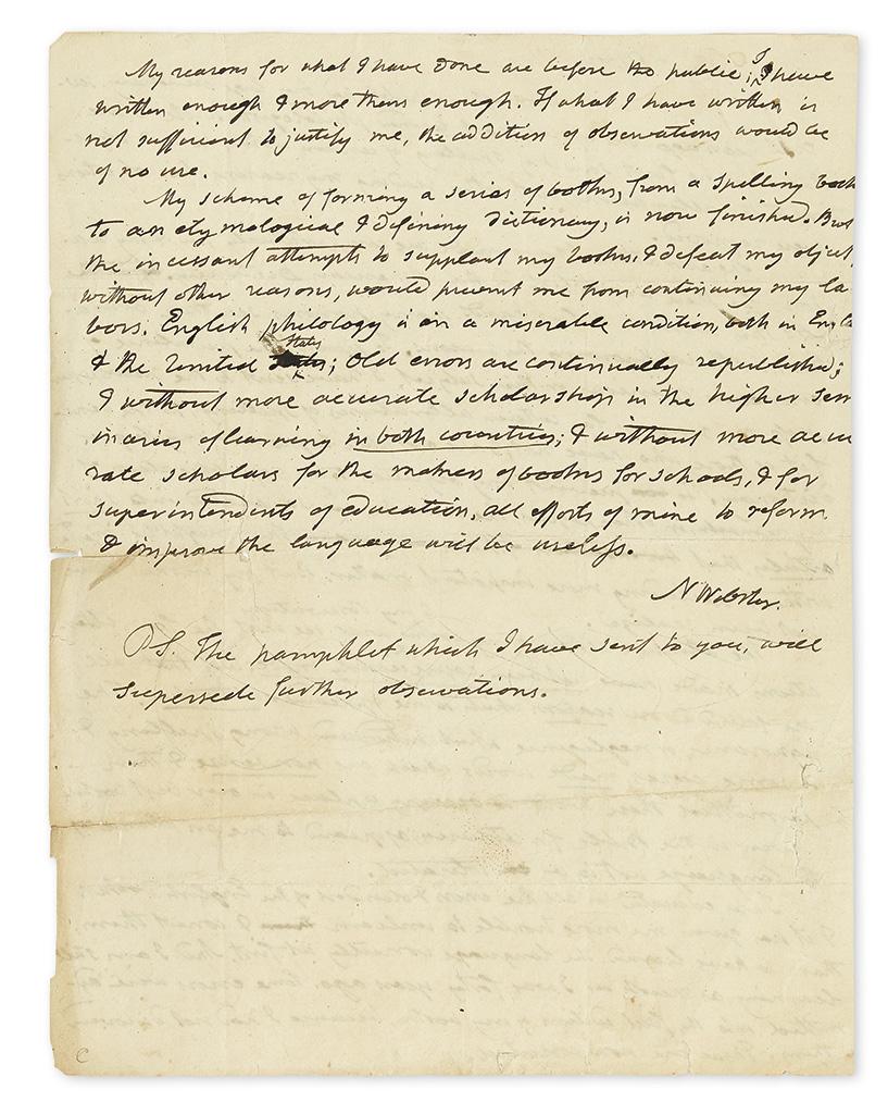 WEBSTER, NOAH. Autograph Letter Signed, N Webster, to unnamed editors (Messrs Editors),