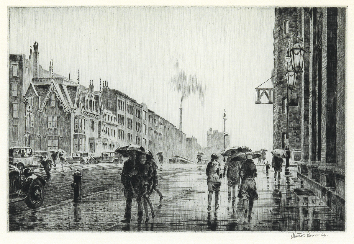 MARTIN LEWIS Rain on Murray Hill.