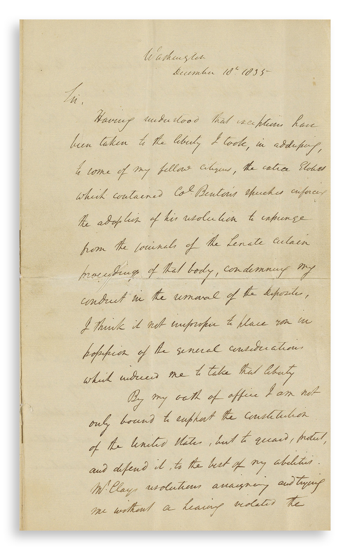 JACKSON, ANDREW. Letter Signed, as President, to Thomas K. Gordon,