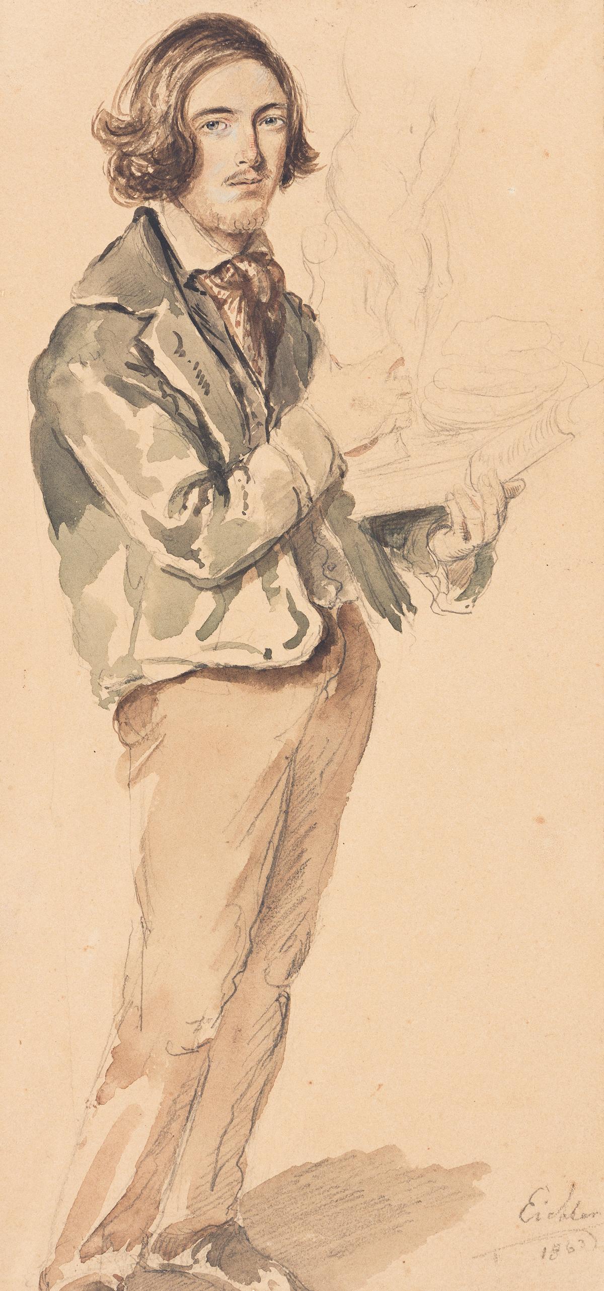 HERMANN EICHLER Full-Length Portrait of an Artist Holding a Sculpture.