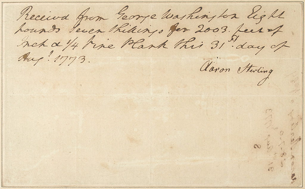 WASHINGTON, GEORGE. Autograph Document Signed, in the third person within the text, receipt for planks of wood: