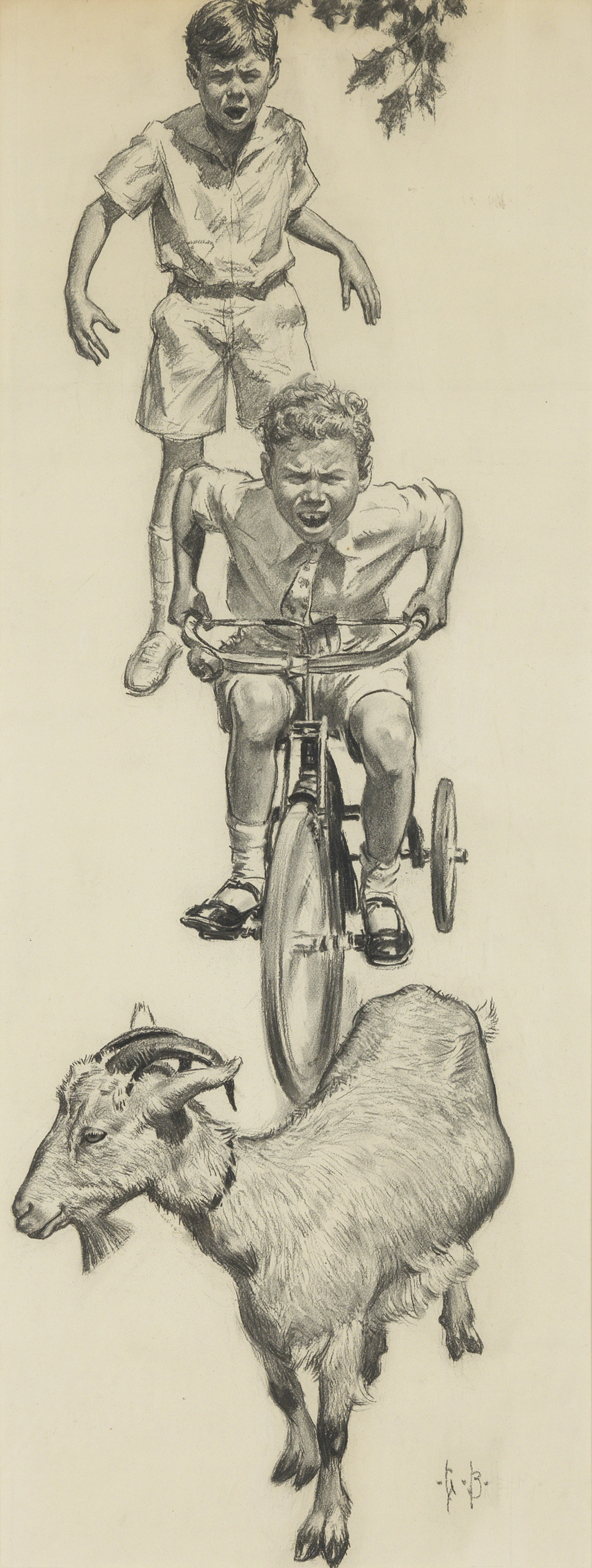 CHILDRENS-SATURDAY-EVENING-POST-GEORGE-BREHM-Shoo-Orvie-cried-pedaling-fiercely-Shoo-you-bad-ole-goat-you-He-chased-Pansy-e
