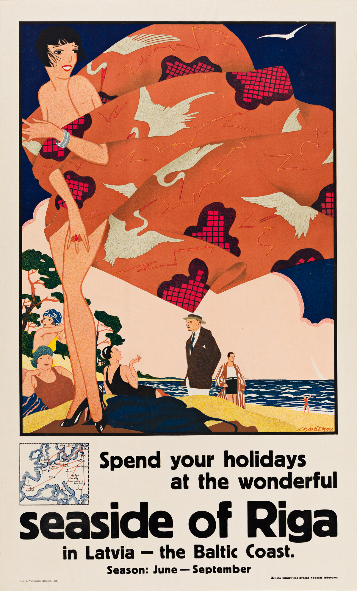 Sigismunds Vidbergs (1890-1970).  SPEND YOUR HOLIDAYS AT THE WONDERFUL SEASIDE OF RIGA. Circa 1925.
