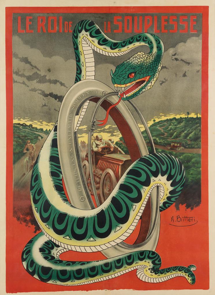 ACHILLE BUTTERI (DATES UNKNOWN). LE ROI DE LA SOUPLESSE. Circa 1910. 61x45 inches, 156x114 cm.