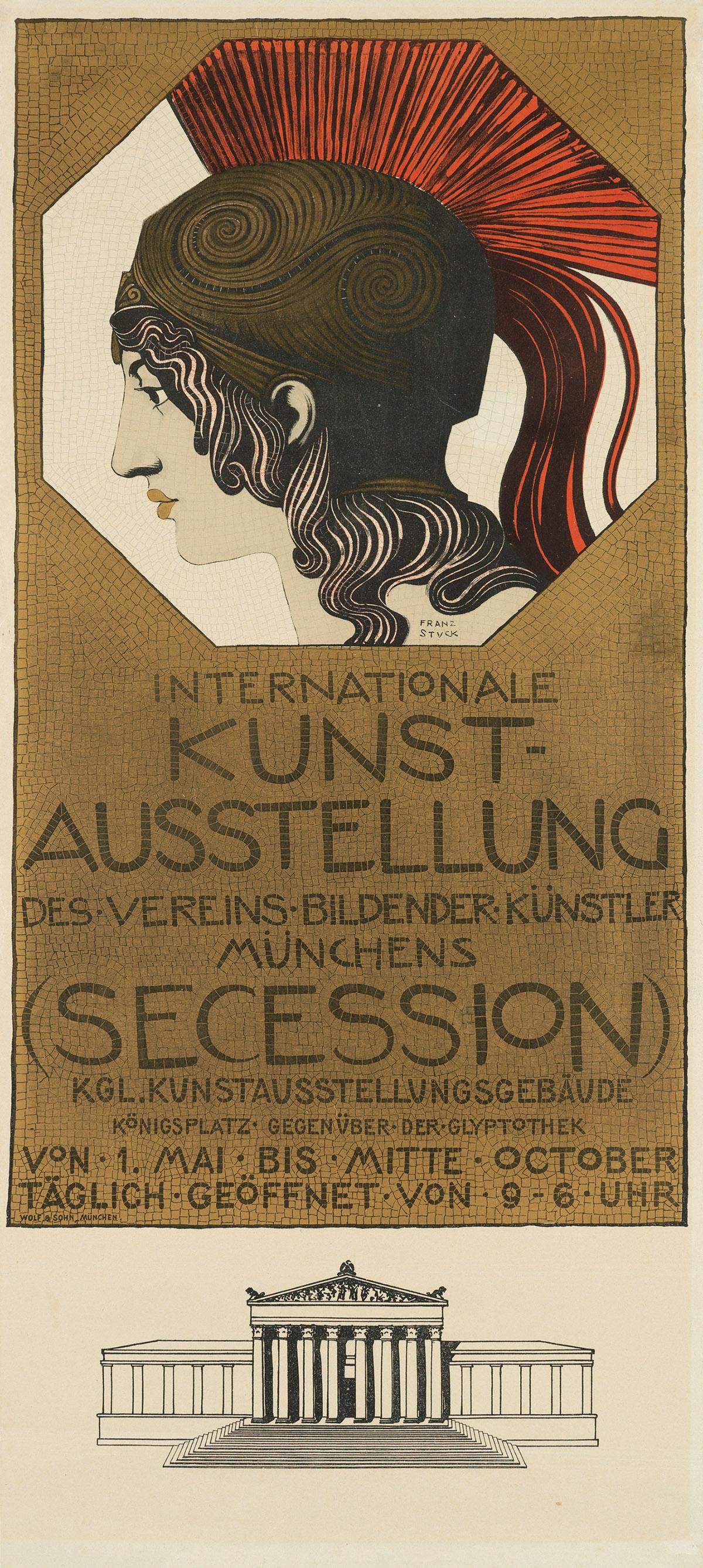 FRANZ VON STÜCK (1863-1928). INTERNATIONALE KUNST - AUSSTELLUNG / (SECESSION). Circa 1898. 33x14 inches, 83x36 cm. Wolf und Sohn, Munic