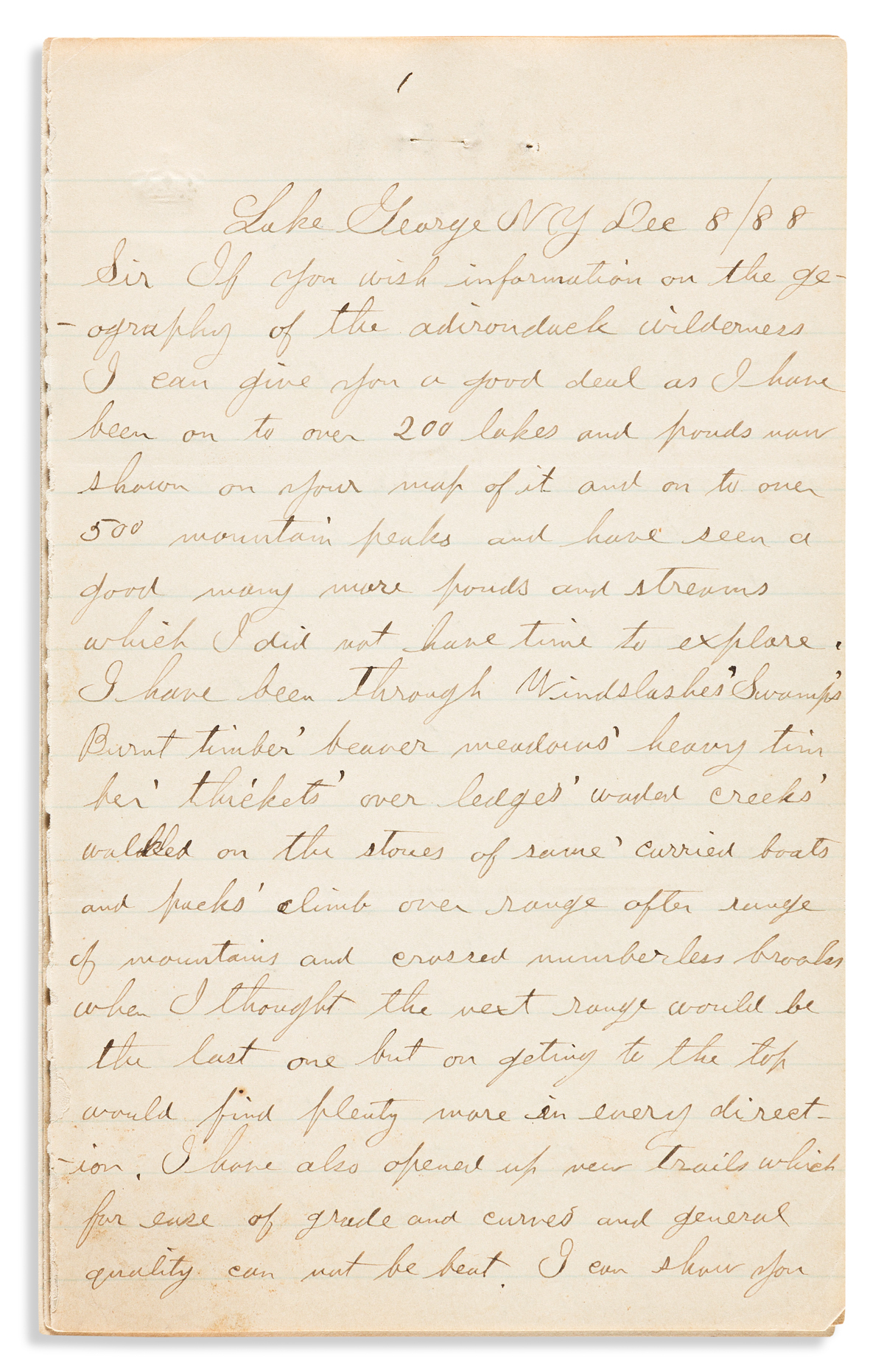 (NEW YORK.) John E. Alden. Letter documenting his exploration of hundreds of mountains and lakes in the Adirondack Mountains.
