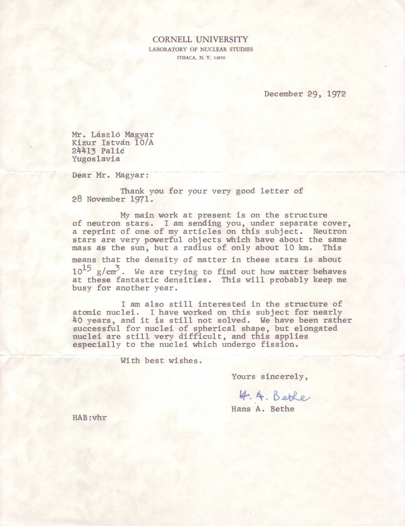 (SCIENTISTS)-BETHE-HANS-A-Typed-Letter-Signed-HA-Bethe-to-Lá