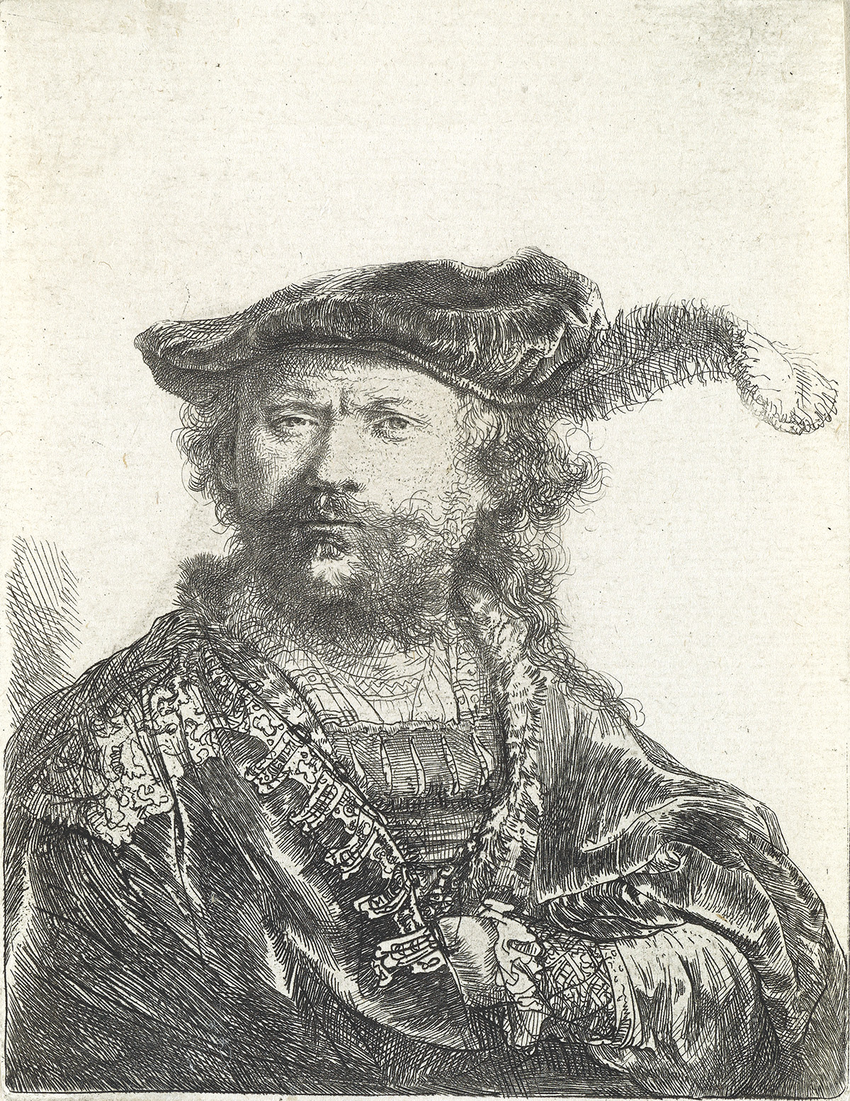 REMBRANDT-VAN-RIJN-Self-Portrait-in-a-Velvet-Cap-and-Plume