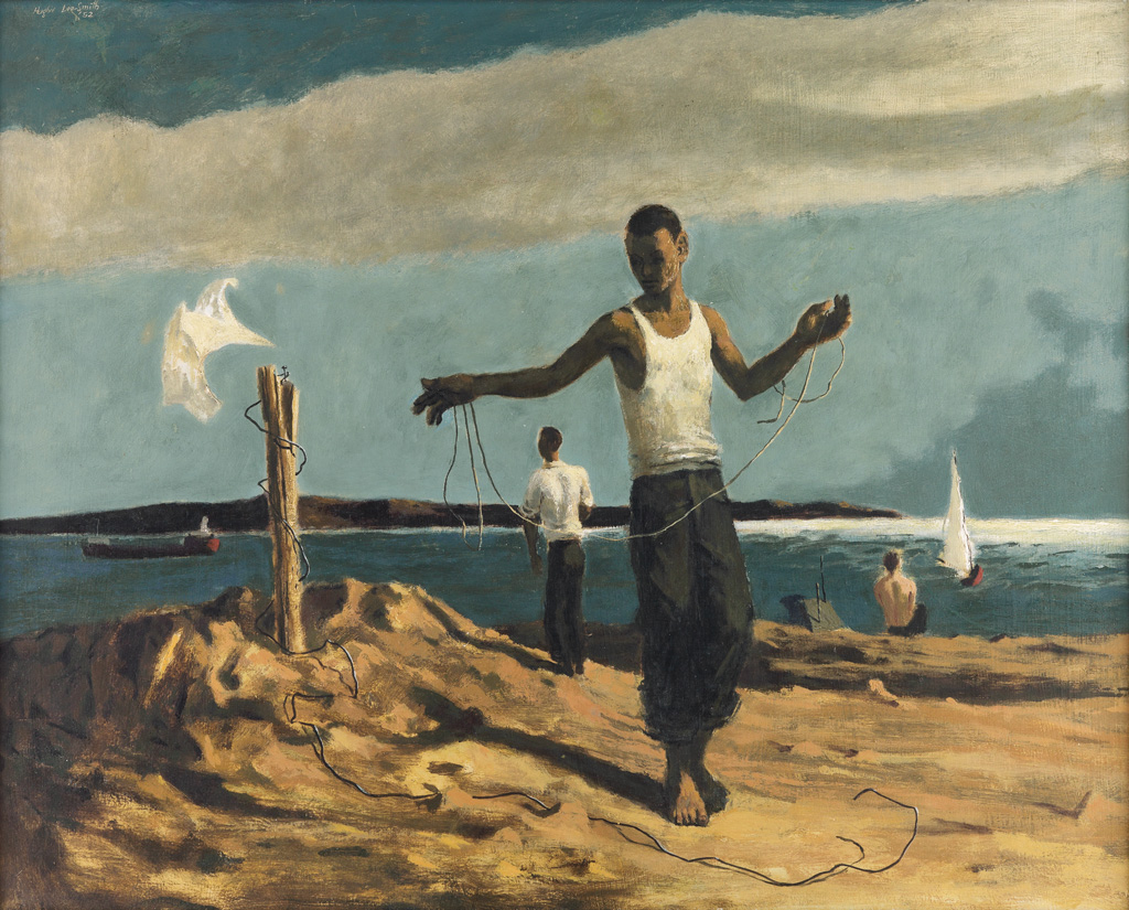 HUGHIE-LEE-SMITH-(1915---1999)-Untitled-(Youths-on-a-Lakesho