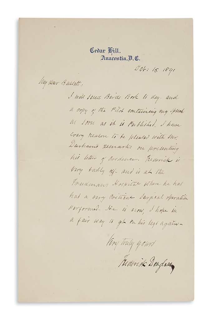 DOUGLASS, FREDERICK. Letters from Douglass to an old friend concerning race relations, Haiti, and more.