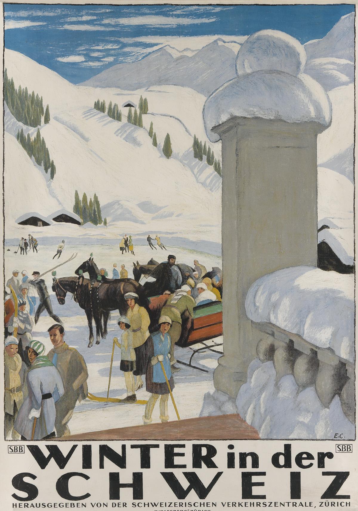 Emil Cardinaux (1877-1936).  WINTER IN DER SCHWEIZ. 1921.