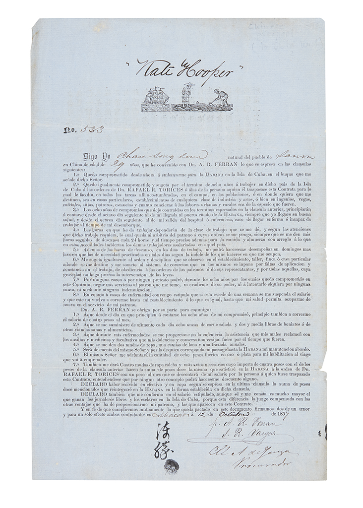 (SLAVERY AND ABOLITION--CUBA.) Contract for a Chinese indentured laborer bound to Cuba.