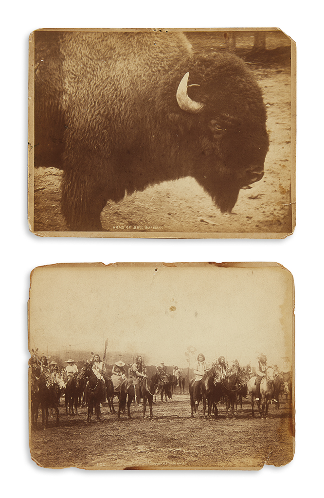 (AMERICAN INDIANS--PHOTOGRAPHS.) Johnston, J.S. Group of Indians * Head of Bull Buffalo.